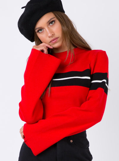 Serena Hyde Long Sleeve Crop Knit Red