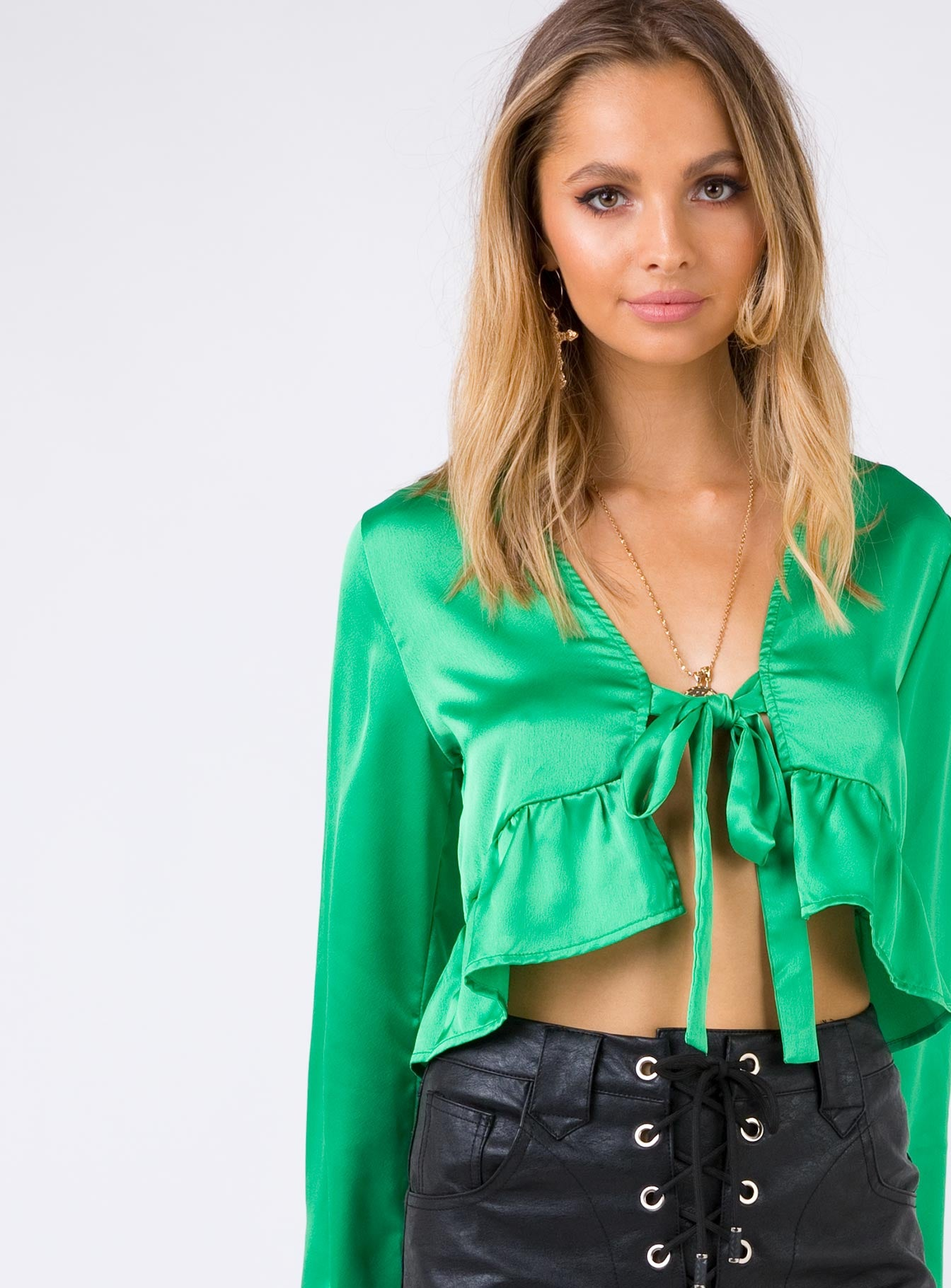 Sorry Not Sorry Tie Front Top