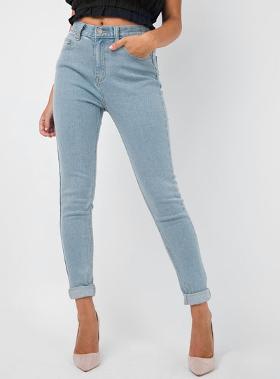 Afends Stone Blue Zeppelins High Waist Skinny Jeans