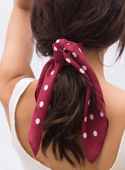 Queenie Polka Dot Scarf Red
