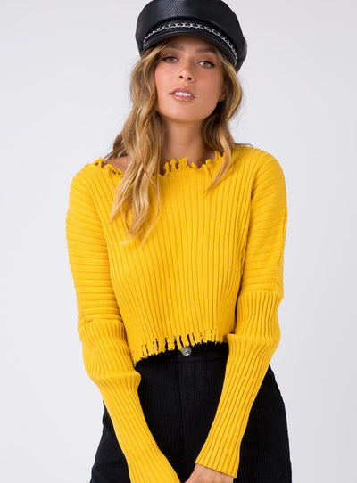 Black Widow Ribbed Top Mustard