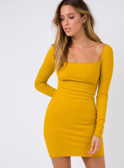 Tease Me Mini Dress Mustard
