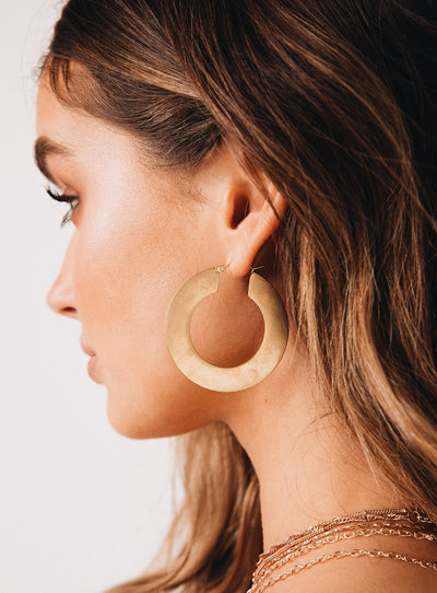 Flat Matte Hoop Earrings