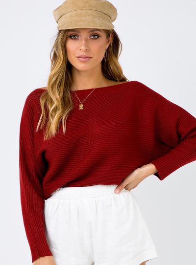 Arizona Light Knit Top Burgundy