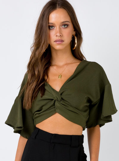 Faded Love Knotted Top Khaki