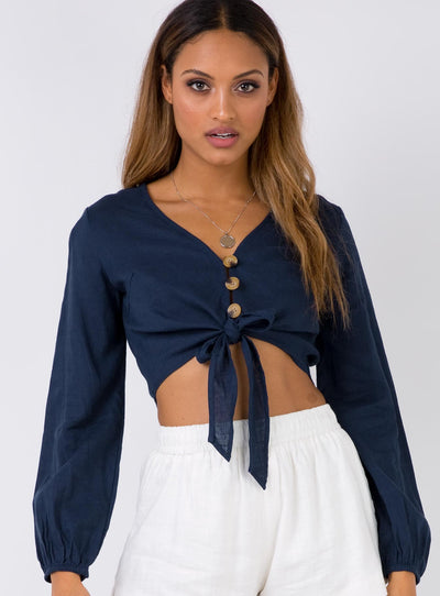 Voodoo Girl Crop Top Navy