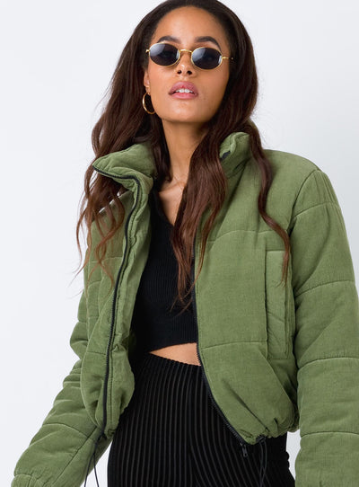 Polly Puffer Jacket Khaki