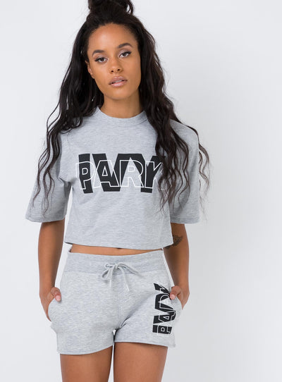 Ivy Park Layer Logo Shorts Grey