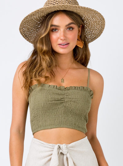 The Jamie Crop Top Khaki