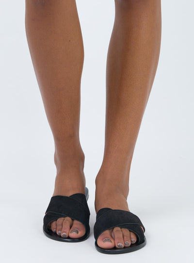 Just Because Arambol Black Suede Slide