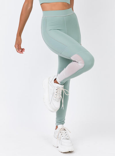 Ivy Park Sheer Flocked Active Logo Leggings Chinois Green