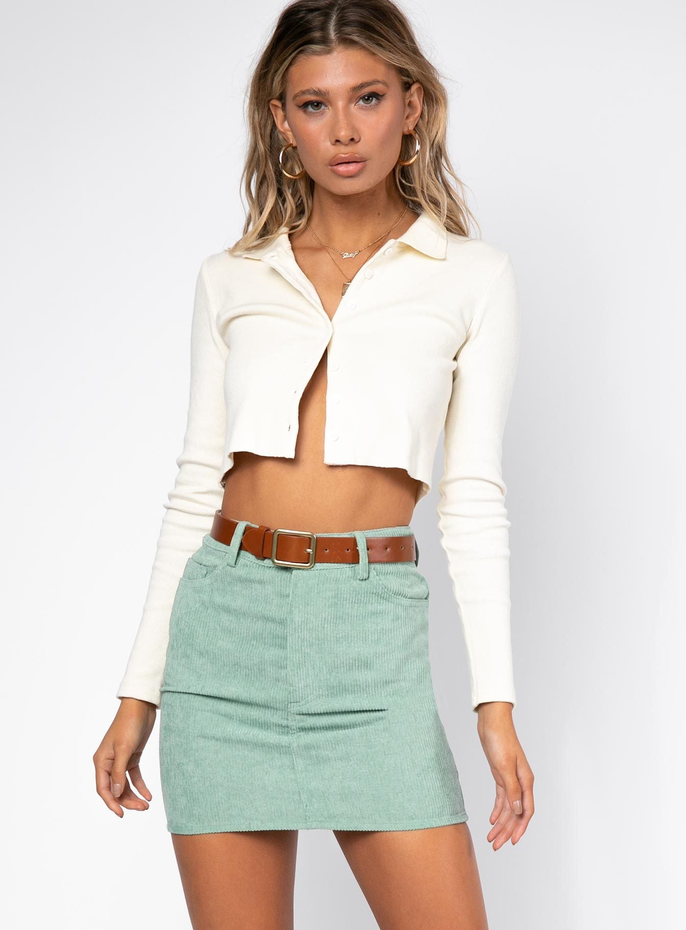 Motel Mini Broomy Skirt Sage