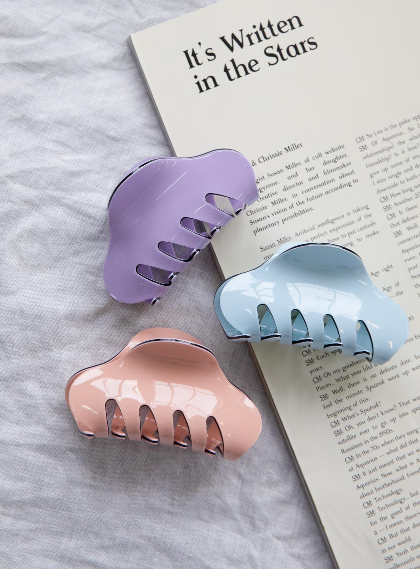 The Lee Hair Clip Set Peach / Blue / Lilac