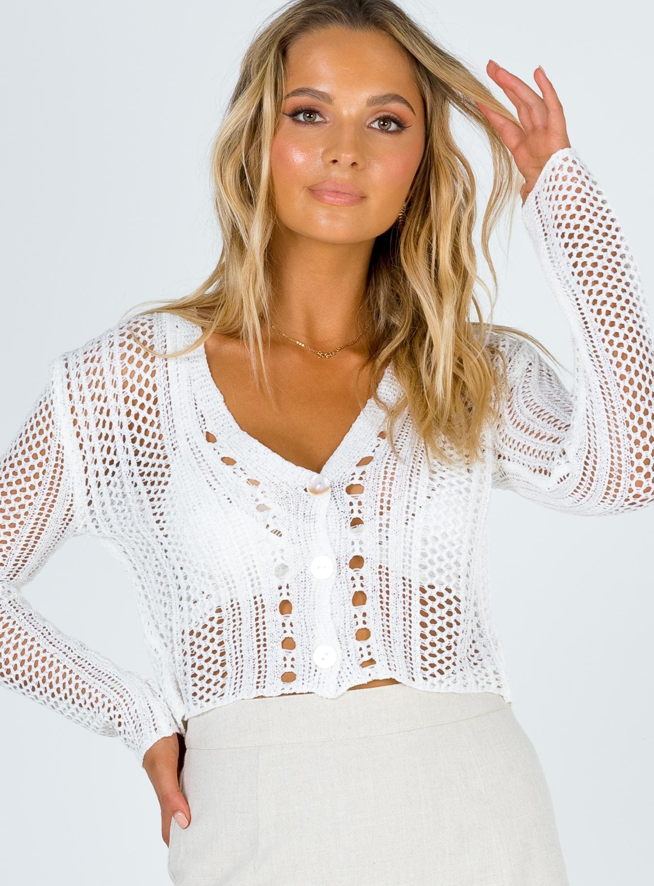 Ella Cropped Cardigan White