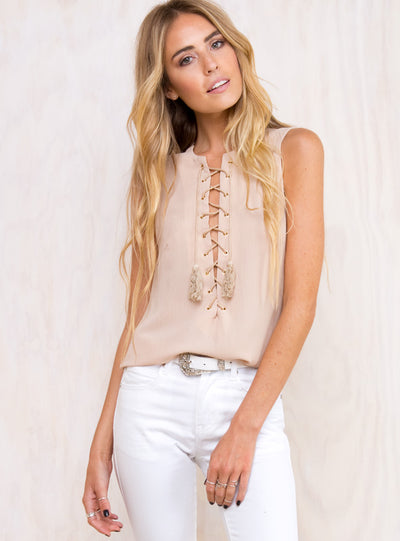 Casablanca Lace-up Top