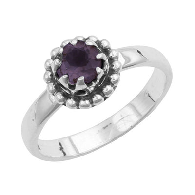 Amethyst Beaded Bezel Ring