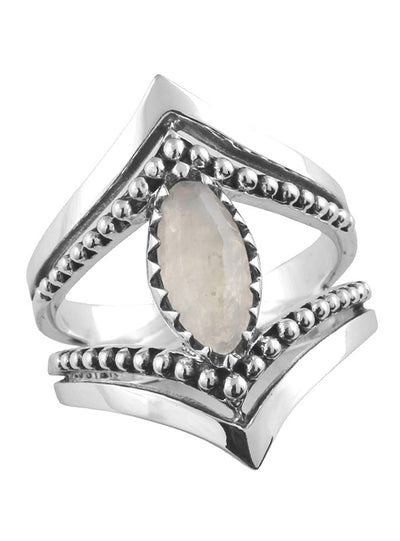 Moonstone Marquise Beaded Ring