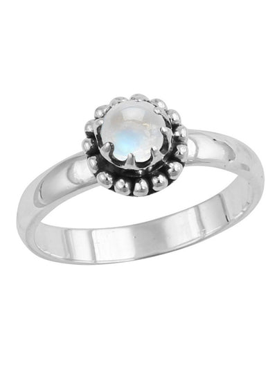 Moonstone Beaded Bezel Ring