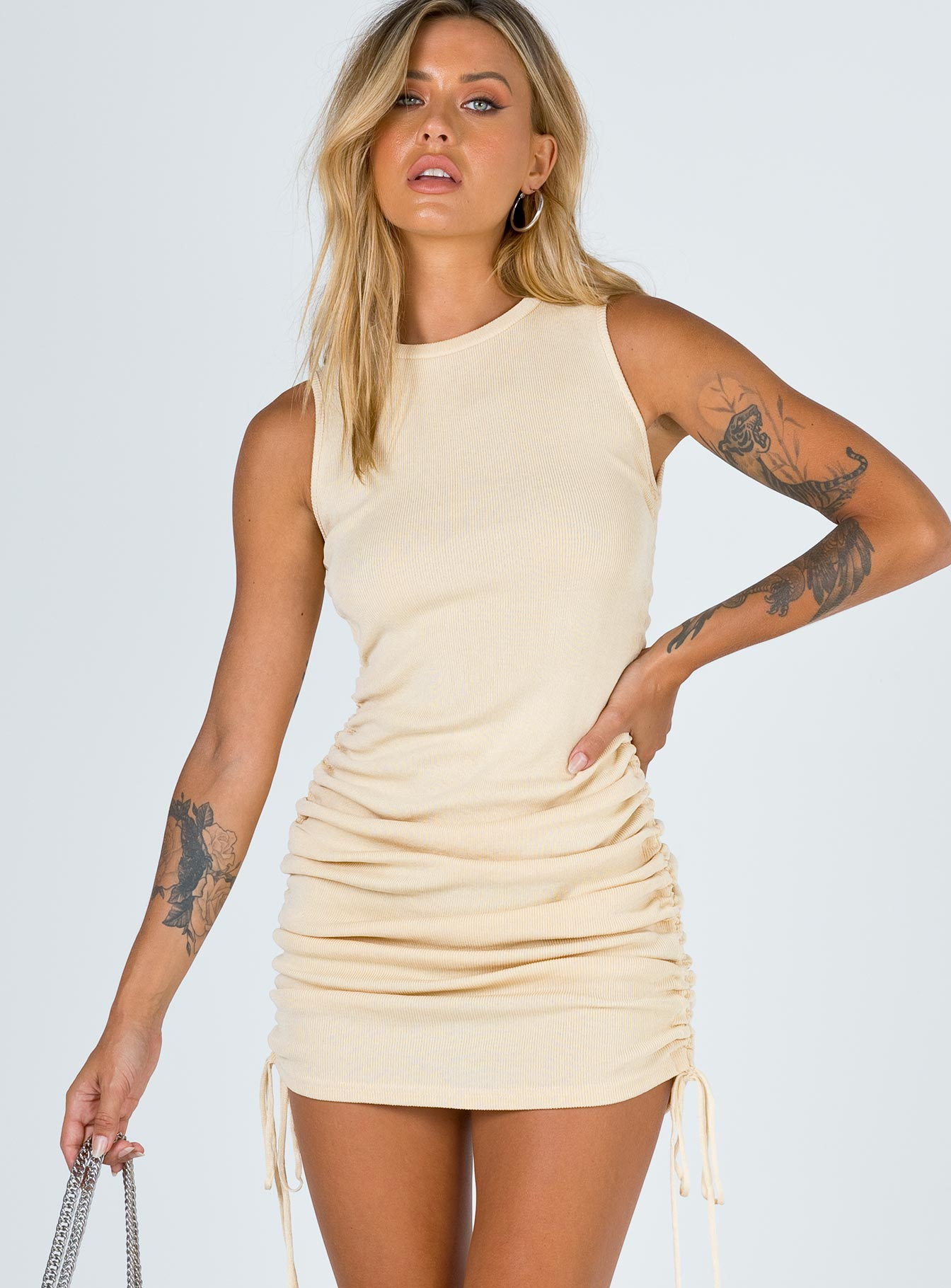 Military Minds Mini Dress Beige