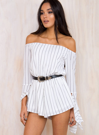 Ebony Eyes Striped Off The Shoulder Playsuit