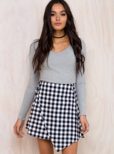 Clueless Checkered Wrap Skirt