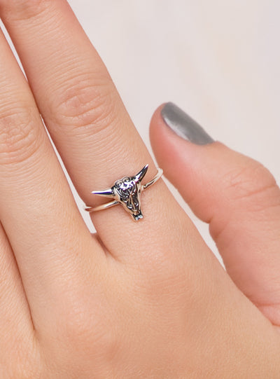 Filigree Cow Skull Ring