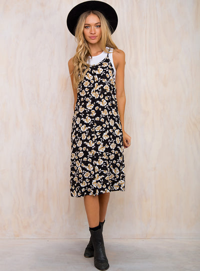 Sidewalk Lemonade Floral Midi Dress