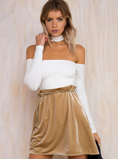 Sway Away Velvet Mini Skirt