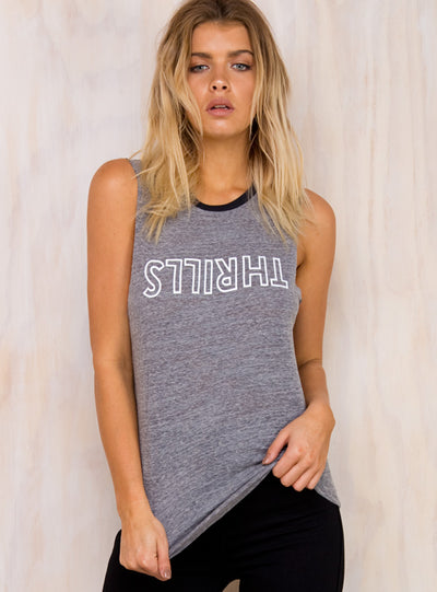 Thrills Outline Logo Muscle Tee