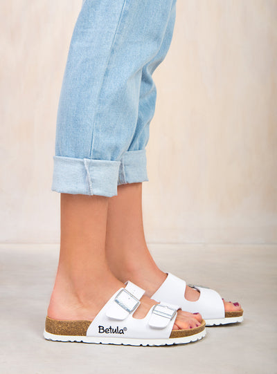 Betula By Birkenstock White Boogie Sandals