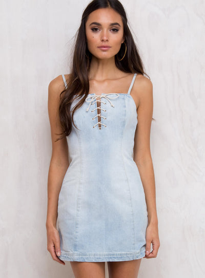 Minkpink Blue Shoreline Lace Up Dress