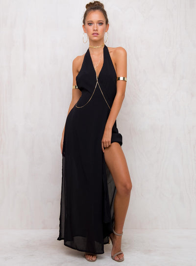 Salem Wrap Halter Maxi Dress