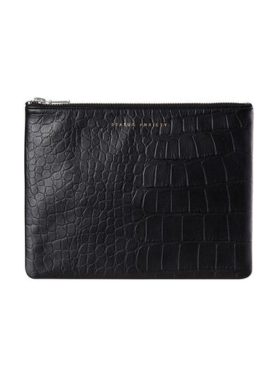 Status Anxiety Black Croc Emboss Anti-Heroine Wallet