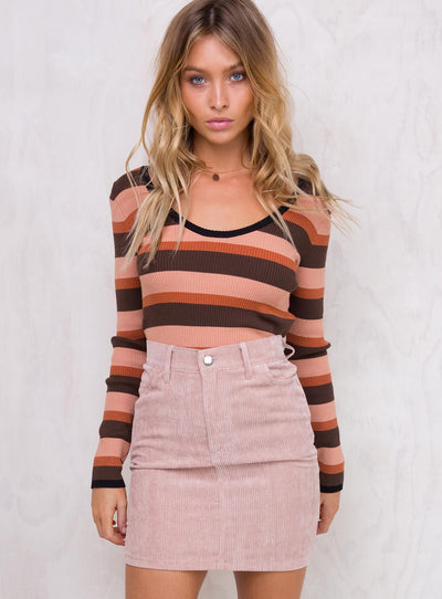 Motel Baby Pink Corduroy Broom Skirt