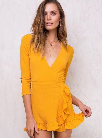 Honeyduke Ruffle Wrap Dress