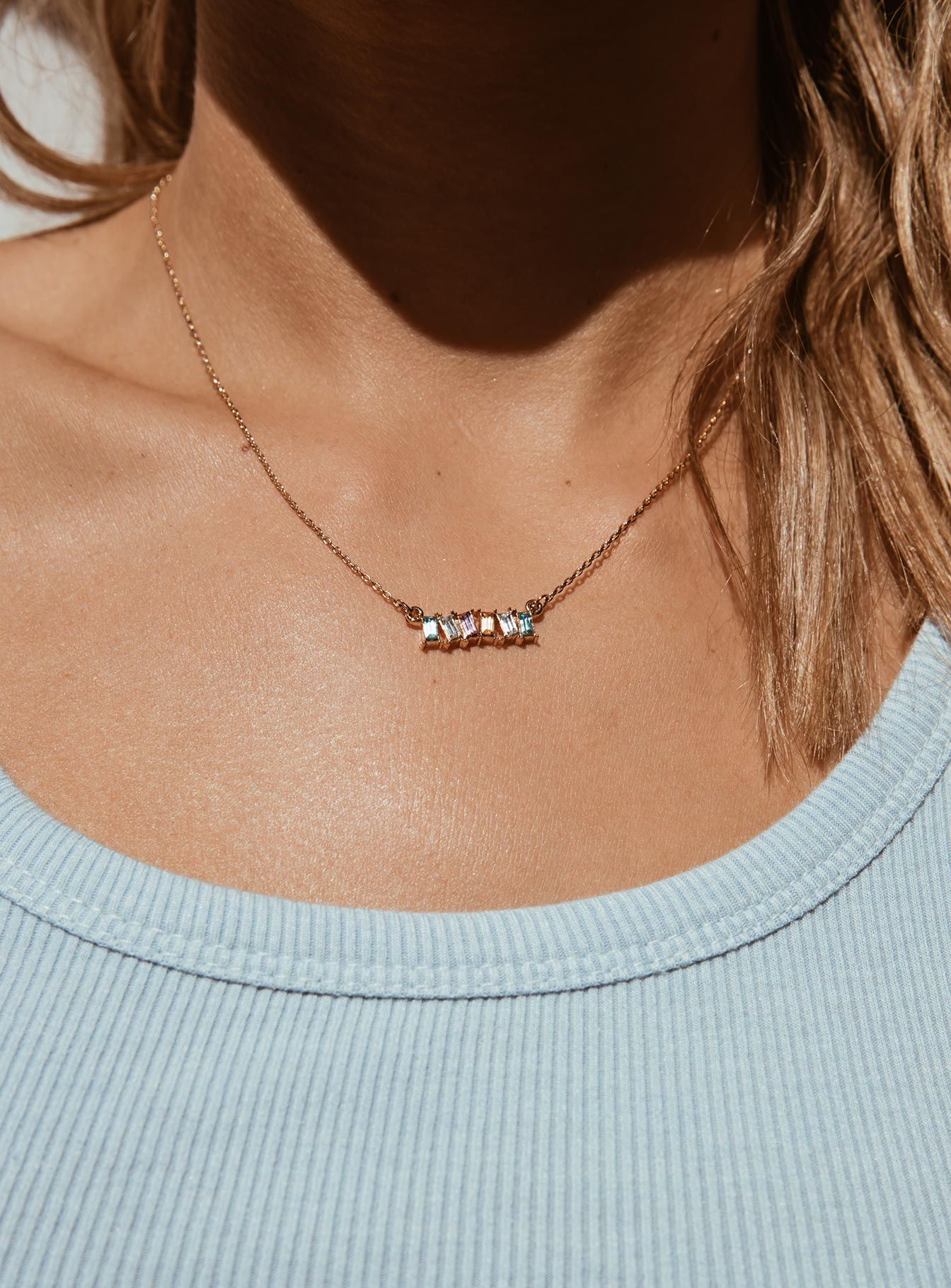 Multi Color Bar Dainty Necklace