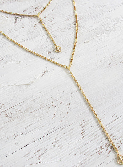 Minc Collections Gold Straight Lines Lariat Necklace