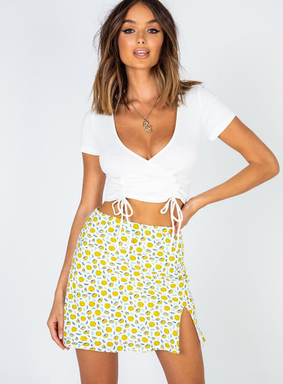 Positano Mini Skirt Yellow