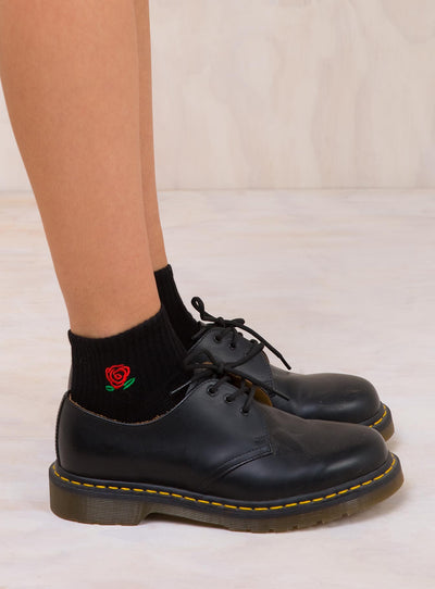 Black Rose Ankle Socks