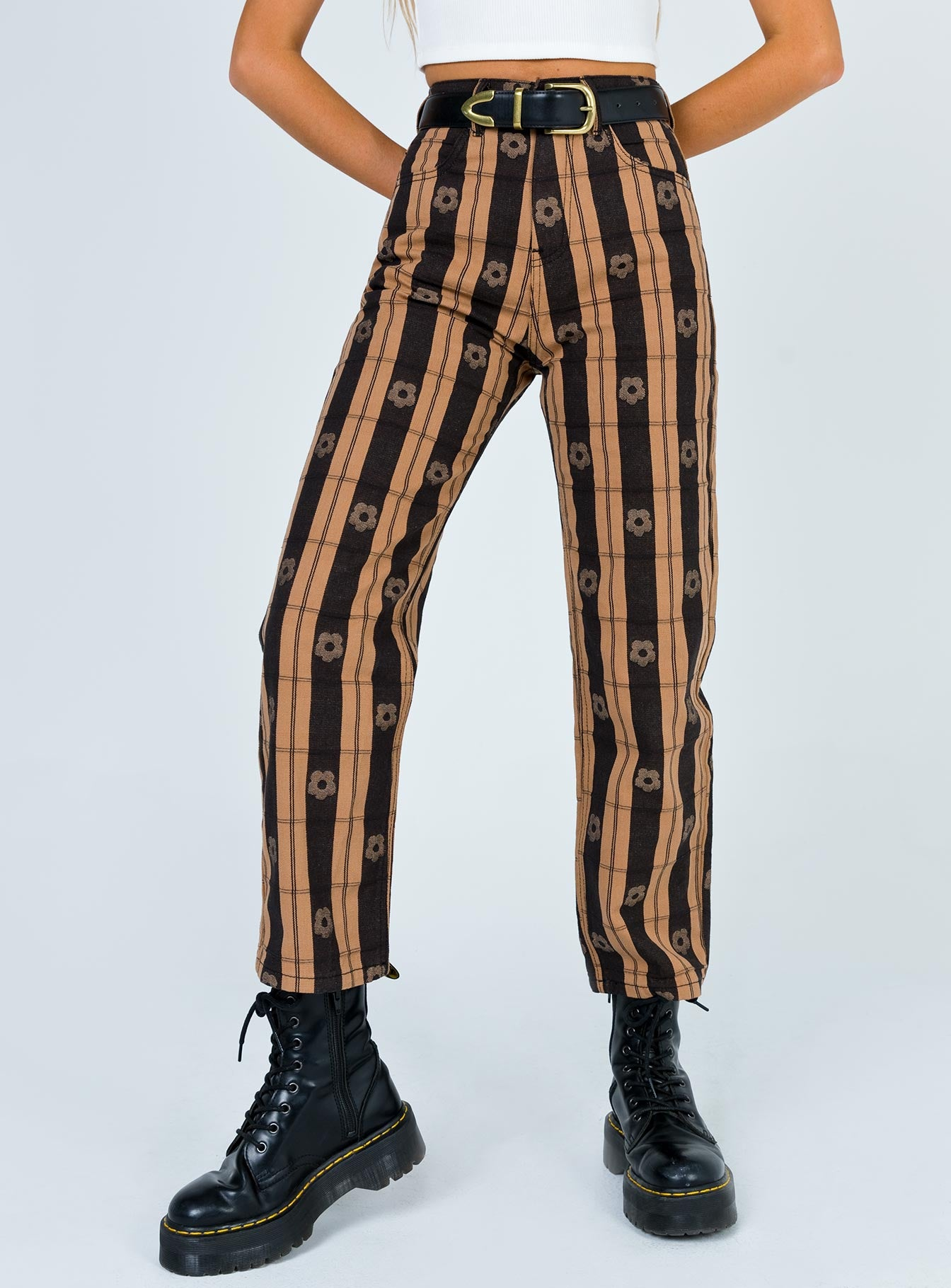 Afends Shelby Poppy Check High Waist Jeans