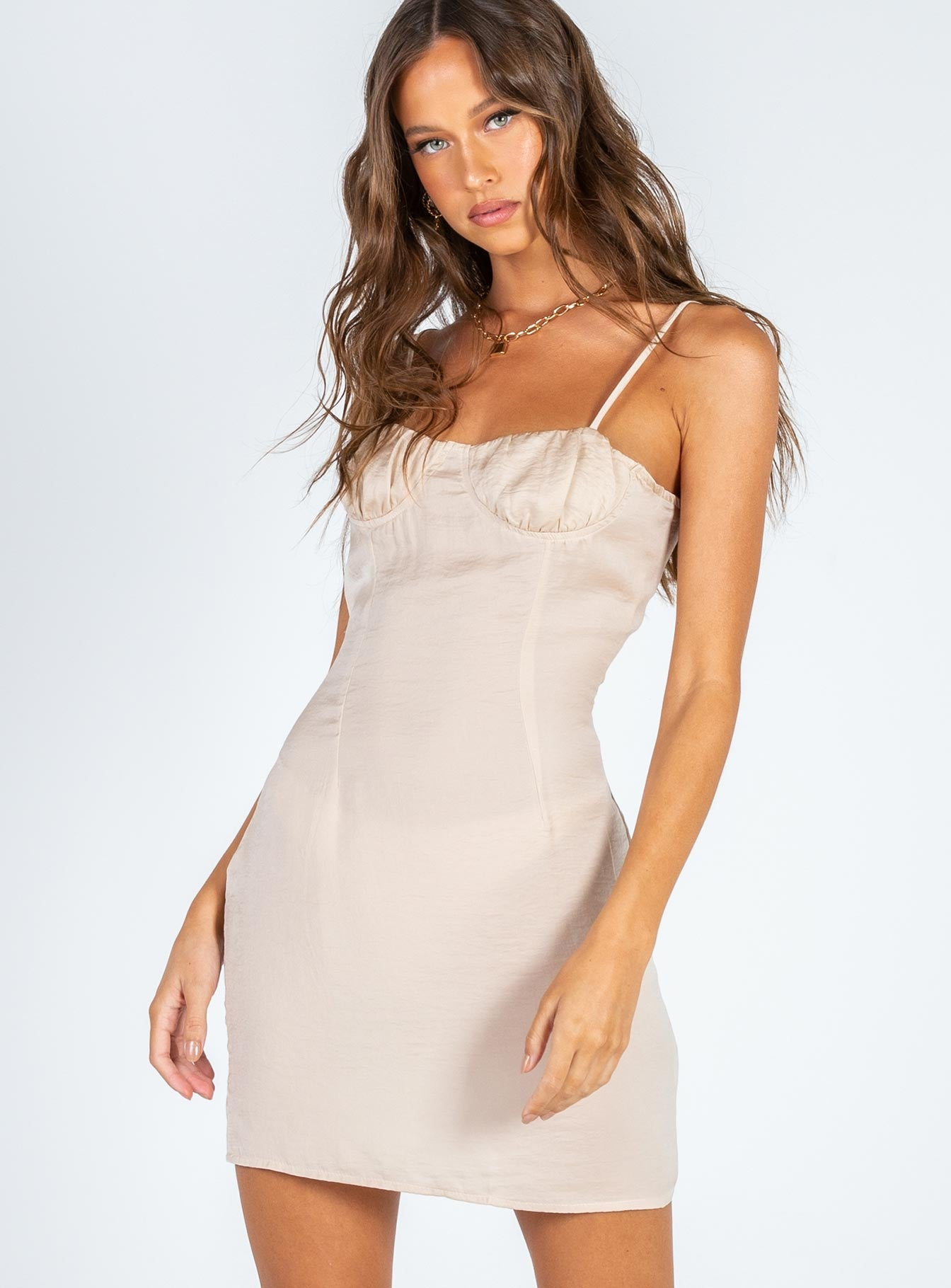 The Charm Mini Dress Beige