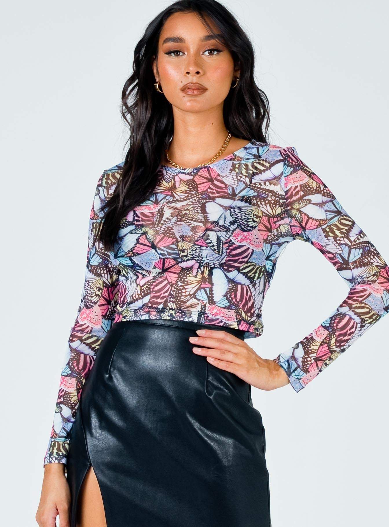 TWIIN Monarch Mesh Long Sleeve Multi Black