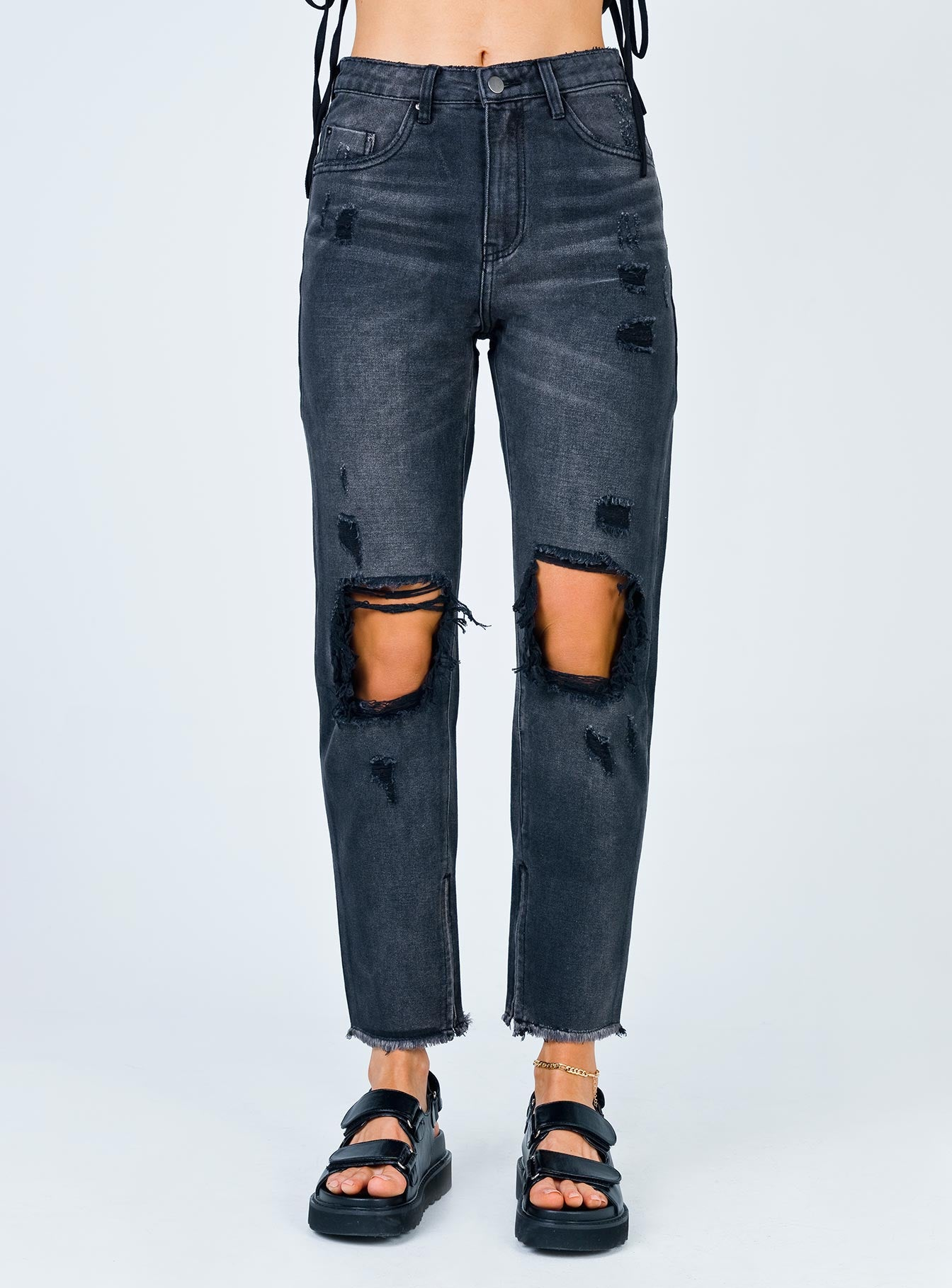 Erissa Knee Rip Jeans Washed Black Denim