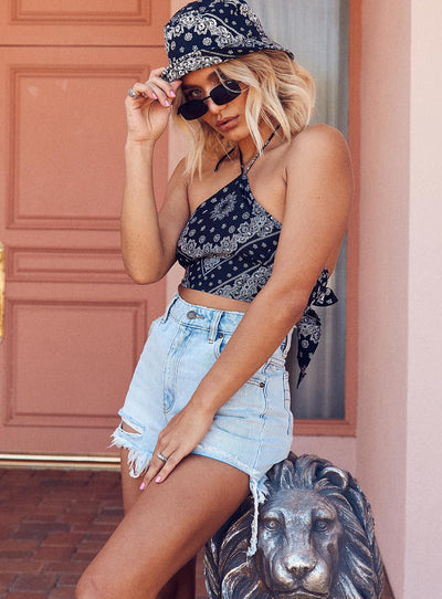 Motel Maudy Top Bandana Black