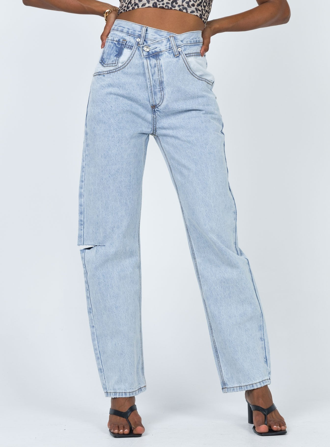 Holly Asymmetric With White Pockets Jean Light Wash Denim