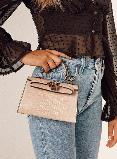 Peta & Jain Hedi Mini Top Handle Bag Nude Croc