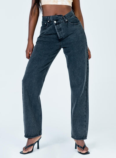 Holly Asymmetric Straight Leg Jean Black Denim