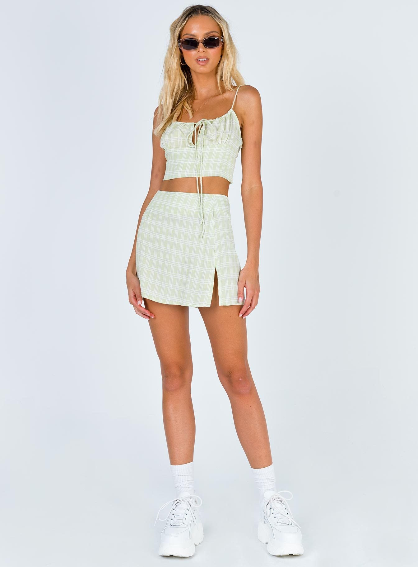 Motel Sheny Mini Skirt Sage Check