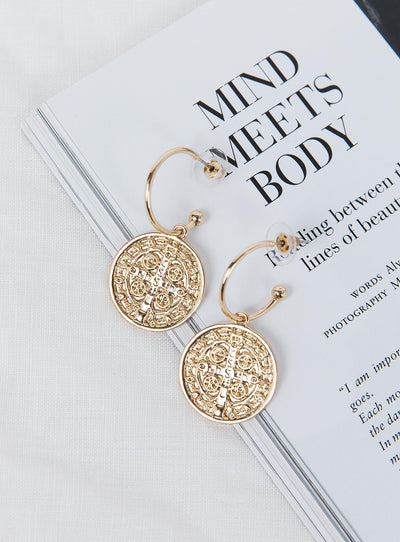 Open Coin Hoop Earrings