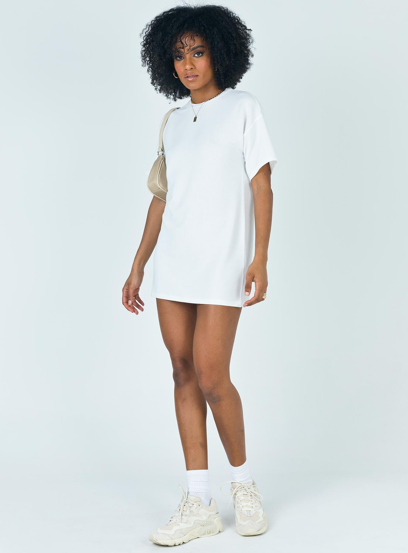 Cayley Tee Mini Dress White